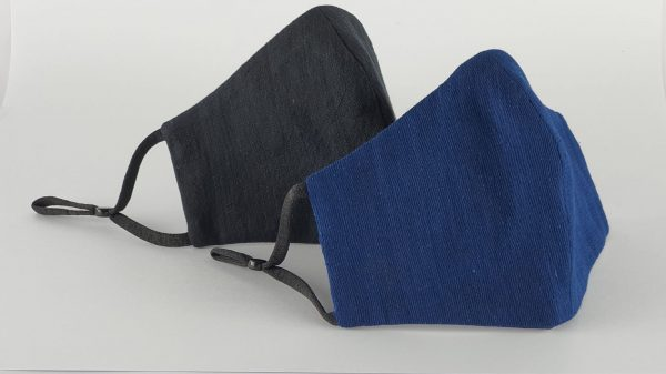 Organic KHADI masks - Black and Dark Indigo hand woven and vegetable dyed (PACK OF 2)